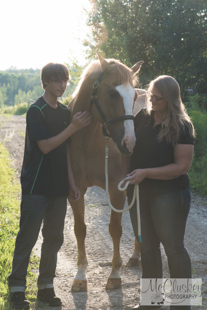 horse and family