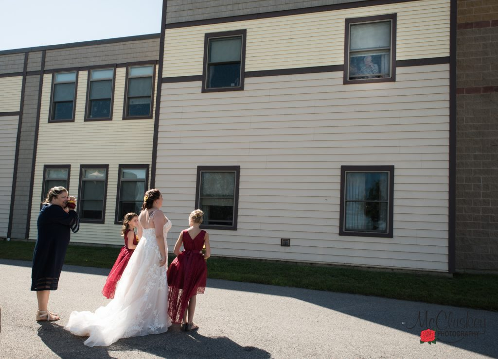 Bride visits grandmother COVID